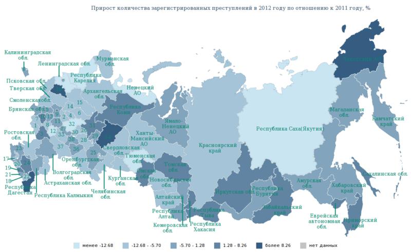 карта роста числа преступлений