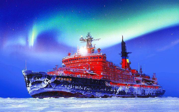 арктика, ледокол, северное сияние