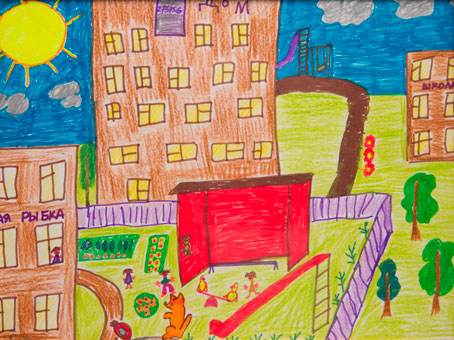 дом, детский рисунок