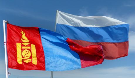 Флаги России и Монголии