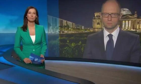 Яценюк на немецокм ТВ