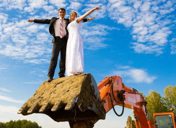 свадьба на эксковаторе