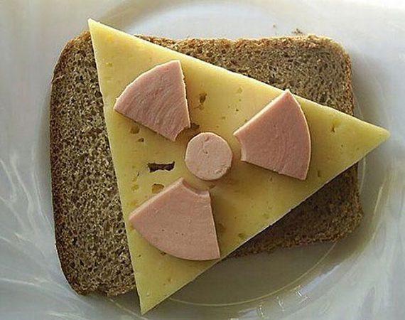 еда, радиоактивность, ГМО, бутерброт