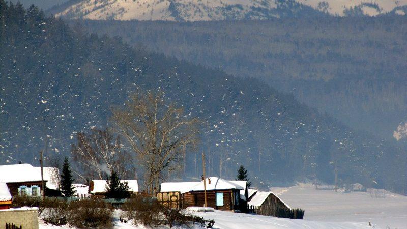 Южный Урал, горы, зима, посёлок, село