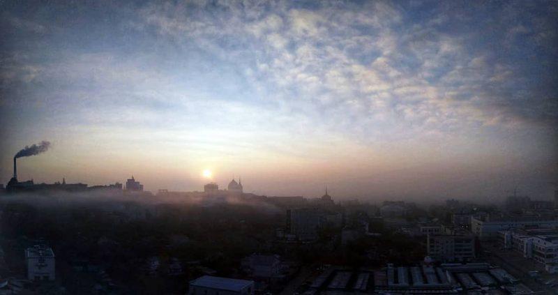 Курск, город, туман, закат, пейзаж, небо, Солнце